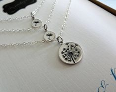 Mother daughter Dandelion necklace sterling silver by NYmetals
