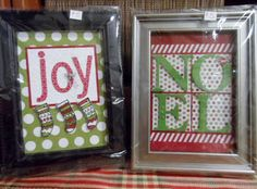 Framed art for Christmas is not only fun to make but easy.  Personalizing is easy, too.   #stampin' up! #Color Me Christmas #Season of Style Designer Paper #typeset Alphabet Bigz die #big shot #Joy #Noel #gift