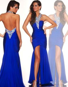 Cheap Prom Gowns - Discount 2015 Crystal Royal Blue Mermaid Long Prom Dresses Online with $97.07/Piece | DHgate