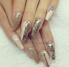 Shades of gold and nude coffin nails
