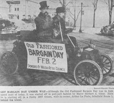 Feb. 3, 1954 - Old Fashioned Bargain Day. Wausau, Wisconsin Mayor Herbert A. Giese is seen in a 1907 Orient, with the car's owner, Arthur La Porte.