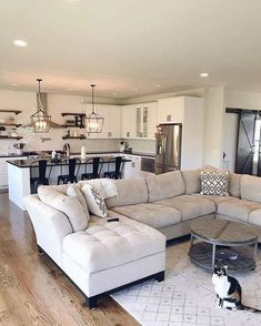 43 incredible farmhouse living room sofa design ideas and decor 28 Living Room Sofa Design, Cozy Living Rooms, Home Living Room, Apartment Living, Living Room Designs, Living Room Decor, Living Room With Sectional, Living Room And Kitchen Together, Open Plan Kitchen Living Room