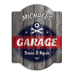 A man cave is a man cave no matter if it's in the garage or in your office. Gear up your man cave, garage, or game room with our vintage personalized garage sign and mark your manly territory. Handmade from birch wood, each sign has distinctive, natural g Garage Logo, Garage Art, Man Cave Garage, Garage Ideas, Kids Garage, Car Garage, Prefab Garages, Custom Garages, Home Wet Bar