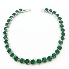 Bracelet Zircon Jewelry Emerald Green Round Carat Cubic Zirconia Diamond Tennis Charm Bracelet