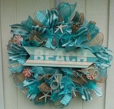 NAUTICAL BEACH  SUMMER  DECO MESH BURLAP WREATH SHELLS #DecoMesh
