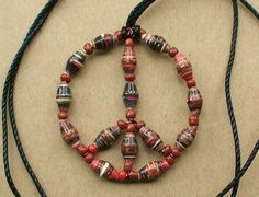 Recycled Paper Bead Peace Necklace