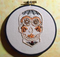 Macabre Sugar Skull - Home Decor Ornament, Orange, Black, Spiderweb, Spider Spooky, Halloween