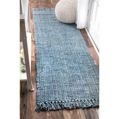 Beachcrest Home Caspian Handmade Flatweave Jute/Sisal Blue Area Rug – jute Rugs living room Jute Carpet, Grey Carpet, Laundry Room Rugs, Rug Making, Handmade Rugs, Blue Area Rugs, Runes, Rug Size, Size 2