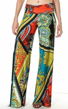 Navy Green Luxury Scarf Print High Waist / Fold Over Wide Leg Palazzo Pants $24.95