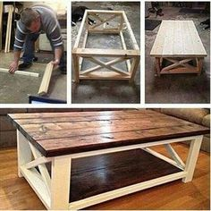 Ideas How To Make A Coffee Table Using DIY Coffee Table Plans Coffee table made easy! The post Ideas How To Make A Coffee Table Using DIY Coffee Table Plans appeared first on Pallet Diy. Diy Coffee Table Plans, X Coffee Table, Rustic Coffee Tables, Rustic Table, Country Coffee Table, Wood Pallet Coffee Table, Pallet Couch, Rustic Kitchen, Diy Kitchen