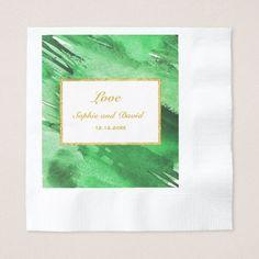 Green Watercolor Gold Foil Wedding Invitation Paper Napkin