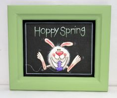 Hoppy Spring Time Bunny with Colorful Purple Egg, Tole or Hand Painted and Framed in Light Green, Reclaimed Hand Crafted Wood Frame, Easter by barbsheartstrokes on Etsy