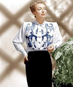 Dog print novelty blouse on Joan Crawford || movie star icon vintage fashion style color photo print ad model portrait 40s rayon blouse white blue novelty print