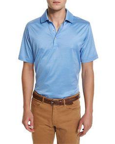 Peter Millar STRIPED COTTON LISLE POLO SHIRT, BLUE. #petermillar #cloth #