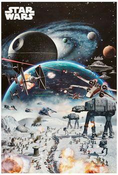EMPIRE STRIKES BACK MOVIE POSTER ~ HOTH BATTLE 24x36 Star Wars Episode V 5 AtAt