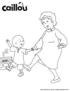 print color caillou dances with grandma coloring sheet activity grandparentsday