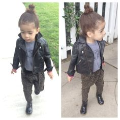 Not. Joking. The. Cutest. Hall of Fame kids tee, 77kids leather jacket, Zara kids leopard harem pants and boots, Alaia, stylist Monica Rose's fashion forward daughter.