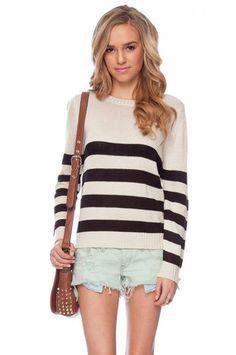 Striped Down Sweater in Off White $30 at www.tobi.com