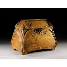 1900's Walnut and Marquetry Inlaid Casket | Art Nouveau