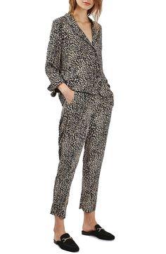 Ditsy Leopard Print Peg Trousers