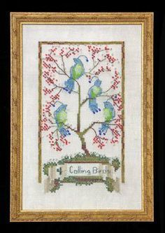 Four Calling Birds is the title of this cross stitch pattern from Nora Corbett's 12 Days of Christmas series. The cross stitch pattern is st...