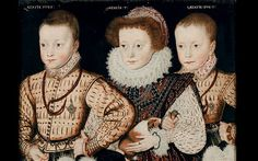 Painting of unknown children by an unknown artist, c. 1580. First known Old World portrait of a guinea pig, then an exotic pet imported from the New World.