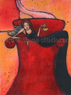 Woman Dog with Coffee Multitasker Art Print from Painting by Shano