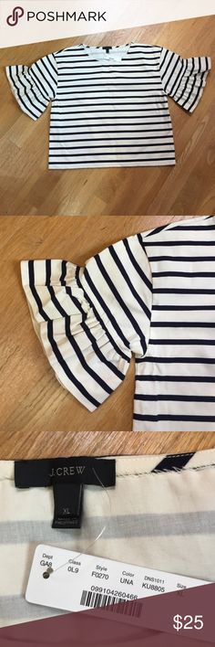 NWT J Crew Navy & White Striped Top Brand new!! Gorgeous sleeves! J. Crew Tops Blouses