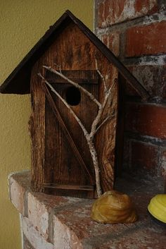 need to add a little branch to my birdhouse so my birdies can sit on it.