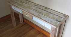 """""""I used rope bed side boards, a board and batten door, along with some great old baseboards to build this custom entrance table. All century, all reclaimed material """" Entrance Table, Entryway Tables, Board And Batten, Reclaimed Wood Furniture, Baseboards, Handmade Home Decor, Furniture Decor, Rustic, Storage"""