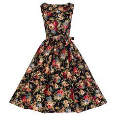 Petite Size 'Audrey' Vintage Style Floral Dress