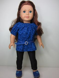 American girl doll clothes  Dark blue UK top  by JazzyDollDuds