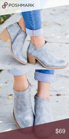 """Contemporary Grey Zip Up Booties In love with these light grey zip up Fall booties! Made of faux leather and a slightly pointed toe, padded insole, and a side zipper, these beauties pair perfectly with jeans or a cute black skirt! Heel height: 3"""" ✨SHIPS IN 1 WEEK✨ ▫️Add to Bundle"""" to add more items in my closet or """"Buy"""" to checkout here with your size.  ↓Follow me on Instagram ↓         @ love.jen.marie Jennifer's Chic Boutique Shoes Ankle Boots & Booties"""