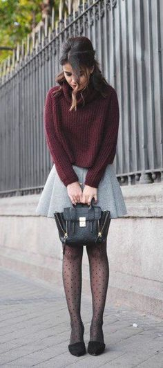 #fall #fashion / burgundy turtleneck knit + gray skirt