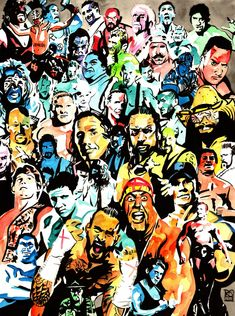 """WWE Champions - Ink and watercolor on 18"""" x 24"""" watercolor paper"""