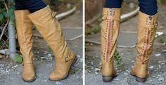 Camel Riding Boots w/red zipper detail $23.99(reg.$60.)