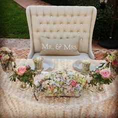 Head table design, décor and specialty seating for Bride & Groom by Ana Stenkoler