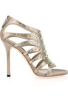 GUCCI  Crystal-embellished silk-satin sandals