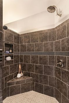 Bathroom:Captivating Walk In Showers Without Doors For Small Space With Black Tile Wall And Wall Shelves Decor Idea Walk-in Showers without Doors for Minimalist Home Style