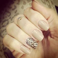 Nude Nails With Leopard Print Accent Nail - maybe replicate, but I don't want the print to be so dramatic