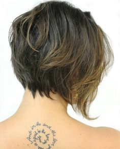 Wavy Layered Brown Bob With Highlights