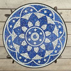 Shira Blue and White Mosaic Accent Table