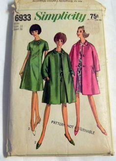 "1960s Coat and A Line Dress sewing pattern Simplicity 6933 Size 16 Bust 36"" by retroactivefuture on Etsy"
