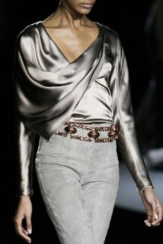 gray satin draped blouse with gray suede pants Carolina Herrera via Tina's Choices