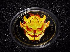 2016 CA BURNING MAPLE LEAF 1 oz Pure Silver Coin DEVIL BURNING Ruthenium and 24K Gold 5 Mint State * See this great product. (This is an affiliate link and I receive a commission for the sales)