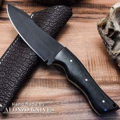 ALONZO KNIVES USA CUSTOM HANDMADE TACTICAL BUSHCRAFT 1095 KNIFE MICARTA 1419 #AlonzoKnives
