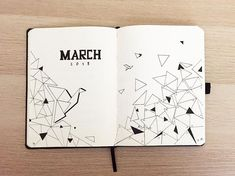 Bullet journal monthly cover page, March cover page, geometric designs. | @flake.bujo