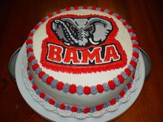 "From Cake Central. Uploaded by mcjohnson7, who said: ""10"" 4 layer white cake done with buttercream icing.  The Bama Logo was done in colorflow."""