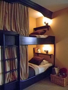 Normal bunk bed , add molding to ceiling and curtains
