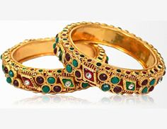 Fine Pair of Rajasthani Polki Patla Bangles  | Rs. 1000/- Worth  only in Rs. 249/-.